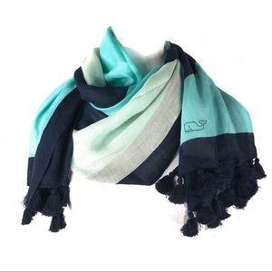 Vineyard vines scarf multicolor wool silk tassels